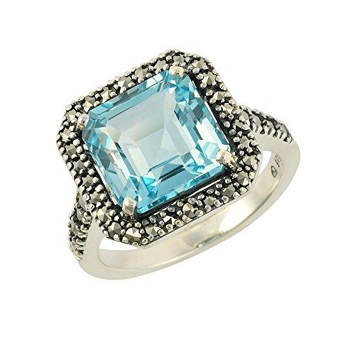Piedras de Pirita Esse de plata de ley corte esmeralda azul topacio y Anillo Tamaño O piedras de Pirita - e instrucciones para hacer vestidos