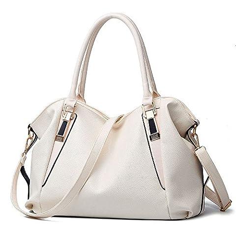 koson-man pour femme en cuir PU sacs bandoulière Beauté Vintage Sac à Poignée Supérieure Sac à main, blanc (Blanc) - KMUKHB090
