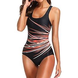 Socluer Costume da Bagno Estivo Donna Intero Push Up Stomaco Strap Beach Slim Sheut Swimwear Sportivo One Pieces