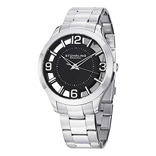 Stuhrling Original - Classic Winchester Court - 754.02 - Montre bracelet - Quartz - Affichage - Analogique - Bracelet - Acier Inoxydable - Argent - Cadran - Noir - Homme