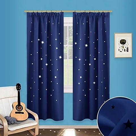 Sterne Verdunkelungsvorhänge mit Band - PONY DANCE 1 Paar ausgestanzt flackern Vorhänge Blickdicht Gardine für Baby, Kinderzimmer Vorhang, Thermo isoliert 182 cm x 116 cm (H x B),