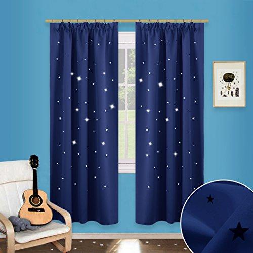 Preisvergleich Produktbild Sterne Verdunkelungsvorhänge mit Band - PONY DANCE 1 Paar ausgestanzt flackern Vorhänge Blickdicht Gardine für Baby, Kinderzimmer Vorhang, Thermo isoliert 182 cm x 116 cm (H x B), Blau