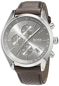 HUGO BOSS 1513476 Men Chronograph Quartz Watch with Leather Strap, Grey