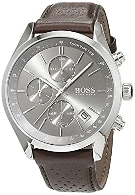 HUGO BOSS 1513476 Men Chronograph Quartz Watch with Leather Strap, Grey