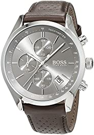 HUGO BOSS BLACK MEN'S GREY DIAL BROWN LEATHER WATCH - 151