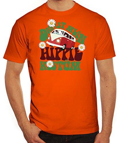 Fasching Karneval Herren T-Shirt mit Das ist mein Hippie Kostüm Motiv von ShirtStreet Orange
