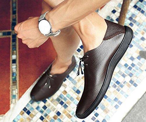 HUAN Hommes Casual Chaussures en Cuir Doux Fond de Mode Pont Chaussures en Plein Air Exercice Sneakers Confort Conduite Chaussures Marron Noir brown