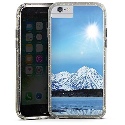 Apple iPhone 7 Bumper Hülle Bumper Case Glitzer Hülle Gebirge Schnee Snow Bumper Case Glitzer gold