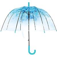 Clear Canopy Bubble Umbrella Transparent Dome Shape Cherry Blossoms,Windproof Lightweight Stick Umbrella