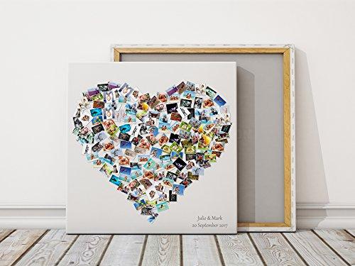 Eigenes Foto Herz Montage Collage auf Leinwand Best Personalisiertes Geschenk Present, 80x80cm
