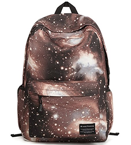 Stormiay Unisexsegeltuch -Galaxy-Muster-Schule-Beutel-Rucksack Netter Rucksack für Mädchen (Blau) Kaffee