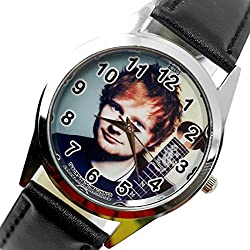 TAPORT® ED SHEERAN Quartz ROUND Watch BLACK Real Leather Band +FREE SPARE BATTERY+FREE GIFT BAG