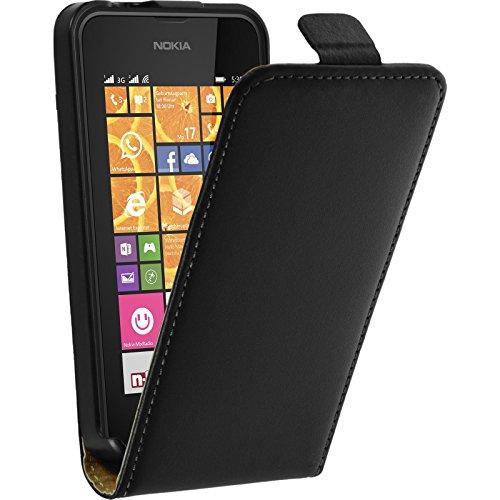 PhoneNatic Kunst-Lederhülle kompatibel mit Nokia Lumia 530 - Flip-Case schwarz Cover