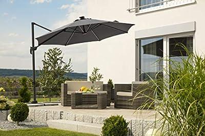 Schneider Sonnenschirm Rhodos Blacklight, anthrazit, ca. 300 cm Ø, 8-teilig, rund von Schneider Schirme auf Gartenmöbel von Du und Dein Garten