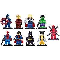 9 x Set of Marvel DC Minifigures with Tools and Bases Avengers Super Hero Spiderman Superman Batman Iron Man Hulk Thor deadpool Mini Figures Fits Lego