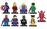 9 x Set of Marvel DC Minifigures with Tools and Bases Avengers Super Hero Spiderman Superman Batman Iron Man Hulk Thor deadpool Mini Figures Fits Lego