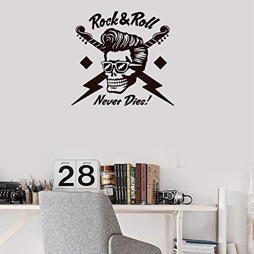 Wandtattoo Zitate Rock And Roll Nie Sterben Vinyl Wandaufkleber Musik Kunstwand Wohnzimmer Rmmovable Schlafzimmer Wohnkultur 61x57 cm