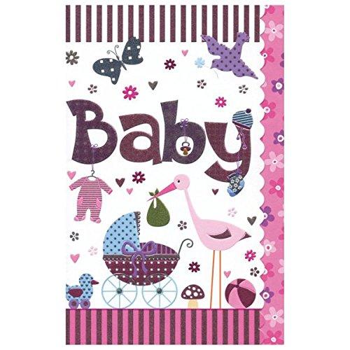 """Susy Card 40009834 Grußkarte zur Geburt/ Mädchen """"Kinderwagen, Storch"""", Maße: 17 x 11 x 0, 1 cm"""