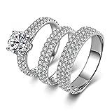 Bishilin 925 Silber Ring Verlobung 4-Steg-Krappenfassung Weiß Zirkonia Rund Ringe-Set Verlobungsringe Paarring Silber Gr.50 (15.9)