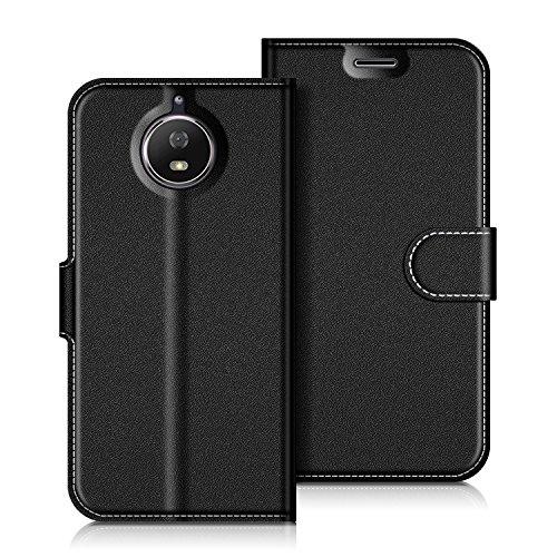 Coodio Motorola Moto G5S Hülle Leder Lederhülle Ledertasche Wallet Handyhülle Tasche Schutzhülle mit Magnetverschluss / Kartenfächer für Motorola Moto G5S, Schwarz
