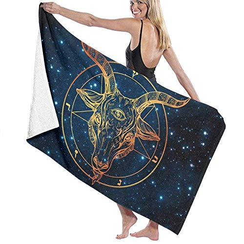 Absorbent Lightweight Microfiber Sand Free Thin Beach Towel Blanket, Stazary 80 cm X 130 cm Bath Towel,Satanic Goat Head with Third Eye 100% Polyester Cashmere Soft Microfiber Beach Shower Towel -