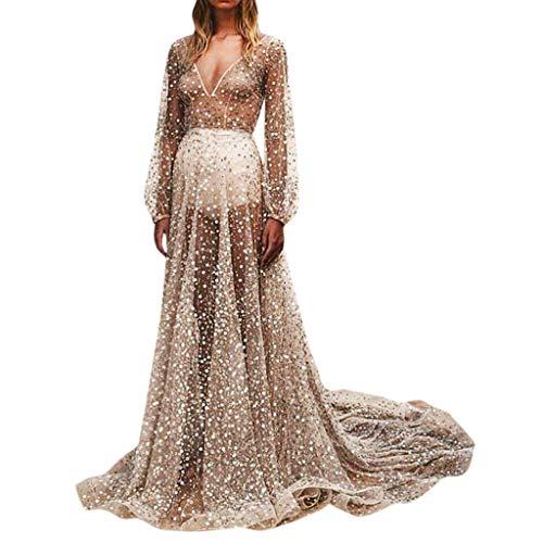iYmitz Damen Mode V-Ausschnitt Pailletten Beiläufig Spitze Solide Mesh Perspektive Langes Kleid Flapper Partykleider Abschlussballkleider Festtagskleider(Silber,EU-40/CN-XL)