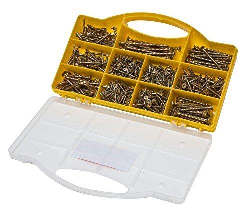 780teiliges Spanplattenschrauben Sortimentskasten Holzschrauben Set verschiedene Größen und Längen Senkkopf Kreuzschlitzschrauben hochwertig verzinkt chromatiert