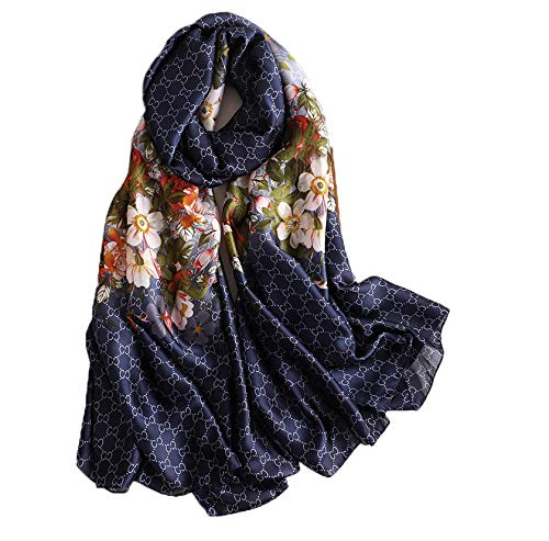 Schal Damen Frühling Sommer Halstuch Vintage Lightweight Schal Floral Print Schals Seide Luxus Geschenk -