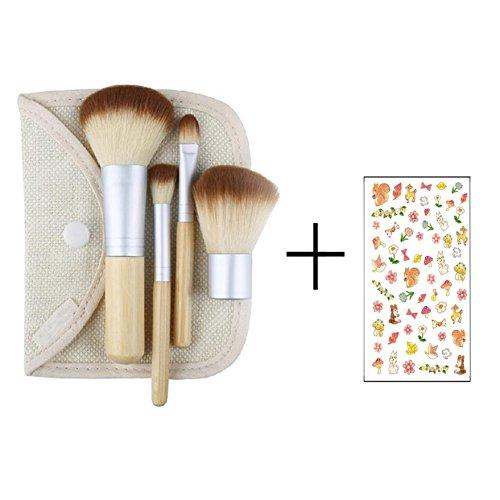 Ensemble de 4 pinceaux de maquillage en bambou avec trousse de maquillage
