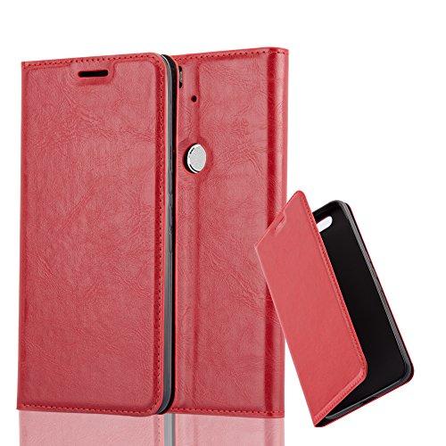 Cadorabo Hülle für Huawei Nexus 6P - Hülle in Apfel ROT – Handyhülle mit Magnetverschluss, Standfunktion und Kartenfach - Case Cover Schutzhülle Etui Tasche Book Klapp Style