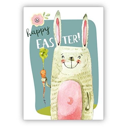 Im 16er Glückwunsch Set: Lustige coole Osterkarte mit Osterhase und Möhre zum Osterfest: Happy Easter!