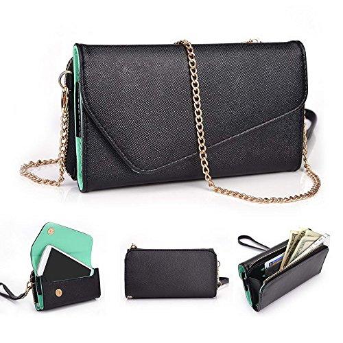 Kroo d'embrayage portefeuille avec dragonne et sangle bandoulière pour ACER LIQUID Jade Z410/Z Multicolore - Rouge/vert Multicolore - Black and Green