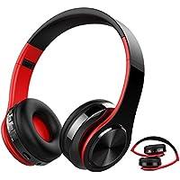 Auricular Bluetooth Inalámbrico, kainuoa Cascos Bluetooth Plegable, Cascos de Diadema Estéreo HiFi Cerrados con Micrófono, Manos Libres, MicroSD, Orejeras Suaves, para iPhone y Android Rojo