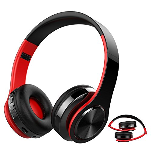 Auricular Bluetooth Inalámbrico, NickSea Cascos Bluetooth Plegable, Cascos de Diadema Estéreo HiFi Cerrados con Micrófono, Manos Libres, MicroSD, Orejeras Suaves, para iPhone y Android Rojo