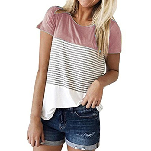 Hevoiok Damen Kurzarm-Shirt Oberteile Sexy Dreifacher Farbblock Streifen Bluse Neu Frühling Sommer T Shirt Frauen Casual Locker Beiläufig Tanktops (Rosa, L)