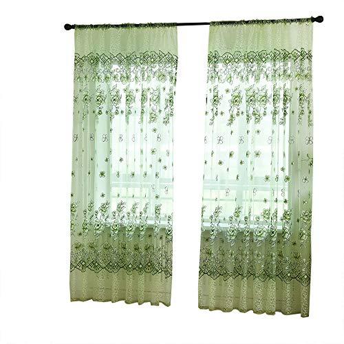 Crity curtain fiori di cristallo. tenda velata in tulle. trattamento voile drappeggio, 1 pannello green
