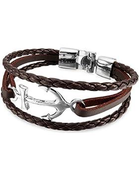 MunkiMix Metalllegierung Legierung Leder Armband Armreifen Kordelkette Anker Segeln Nautisch Herren,Damen
