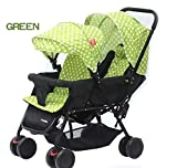 Soft, Comfortable Shockproof White Dotted Twin Stroller and Pram with Rain Cover (Green)