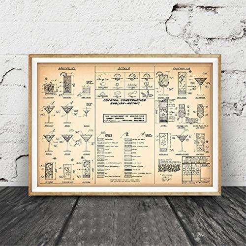 RQJOPE Dekorative Malerei Cocktailkarte Wandkunst Drucke Und Poster Barkeeper Geschenk Cocktail Rezept Leinwand Malerei Wandbild Bar Pub Alkohol Kunst Dekor-20x28inch -
