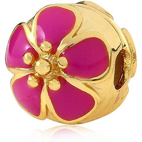 Soulbead placcato oro rosa smalto rosso ciliegio clip in argento Sterling 925con Charm per braccialetto stile europeo