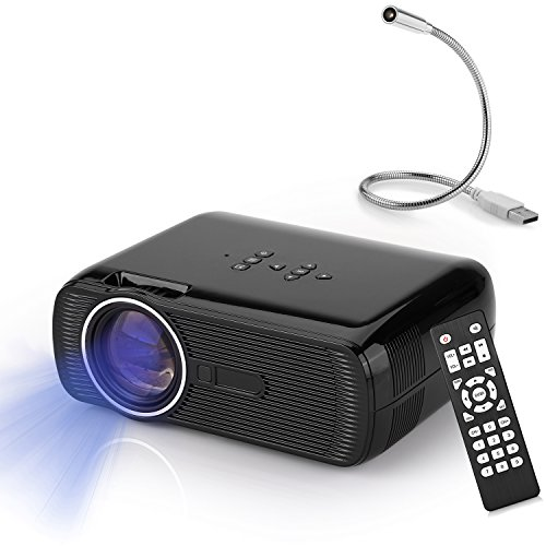 Yokkao Mini Projector, Yokkao® LED Portable 1000 Lumens 800x480p Home Theater Cinema Support HDMI/AV/VGA/TV/USB/SD Input with USB Lamp