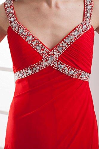 Bridal_Mall Damen mit Traeger Partykleider Lang Strass Beaded Ball Abendkleider Purpur