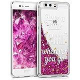 kwmobile Hülle für Huawei P10 - TPU Silikon Backcover Case Handy Schutzhülle - Cover klar Schneekugel Sparkle Design Silber Pink Transparent