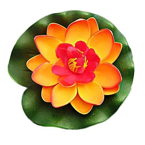 Hosaire 1 Stück Künstliche Blumen Eva Material Doppelventil Lotus Schwimmbad Dekoration Lotus Seerose Künstliche pflanzen Ewige Blume Fake Blumen,Orange