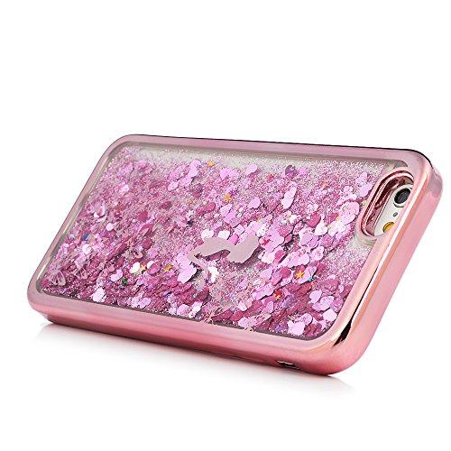 MAXFE.CO TPU Silikon Hülle für iPhone 6 6S Handyhülle Schale Etui Protective Case Cover Rück mit Pfingstrose Skin TPU Kantenschutz Treibsand Design Schutzhülle Mädchen