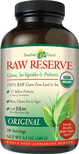 Amazing Grass - Green SuperFood Raw Reserve Boisson en poudre sans gout 240 gr