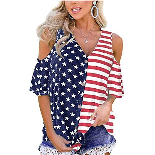 Bellelove Damen Bluse Sexy V-Ausschnitt Kurzarm Hemd Knopf Schulterfrei Tunika American Flag Print Independence Day Frauen Top -