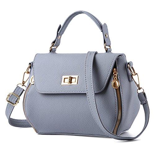 fanhappygo Fashion Retro Leder Damen unique clutch Schulterbeutel Umhängetaschen Abendtaschen grau