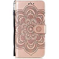 DEEB010516 - Funda de piel tipo cartera para Samsung Galaxy S20 Ultra, con función atril, cierre magnético, con ranuras para tarjetas, color oro rosa
