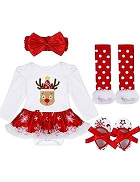 iEFiEL Baby Mädchen Kleidung Set Langarm Kleid Weihnachten Bekleidung Strampler Overall Weihnachtskostüm